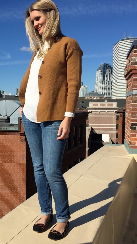 Reloved: J. Crew wool sweater, Madewell white silk top, statement necklace