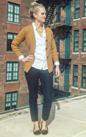 Reloved: J. Crew wool sweater, J. Crew white button down, Jessica Simpson flats, statement necklace