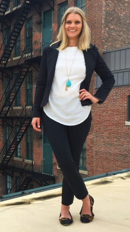 Reloved: Madewell silk white top, Jessica Simpson flats, statement necklace