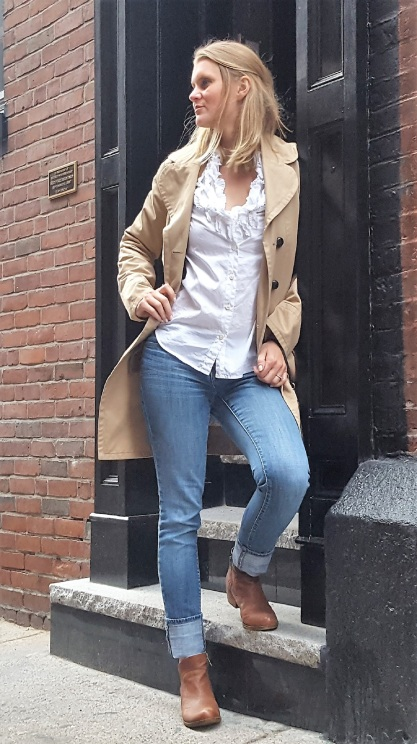 Reloved: Marc Jacobs trench, J. Crew white button down, Lucky Brand booties